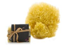 Handmade Soap And Sea Sponge Royalty Free Stock Image