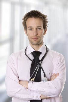 Free Closeup Portrait Of A Young Doctor Royalty Free Stock Photography - 9633427