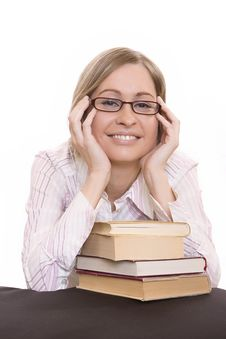 Free Young Woman With Books Stock Photography - 9633452