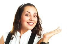 Free Pretty Businesswoman Pointing At Something Stock Image - 9633661