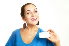 Free Businesswoman Showing Us A Business Card Stock Image - 9634051