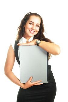Free Girl Holding A Laptop Stock Photo - 9634250