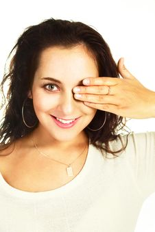Free Girl Closing Her Eye With A Hand Royalty Free Stock Photo - 9634445