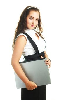 Free Girl With A Laptop Royalty Free Stock Images - 9634499