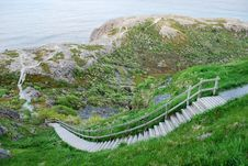 Steep Steps Leading To Ocean Royalty Free Stock Image