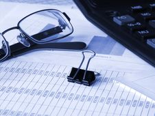 Free Glasses, Calculator And Binder Clip Stock Images - 9635234