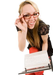 Free Young Woman With Laptop Stock Photography - 9635492