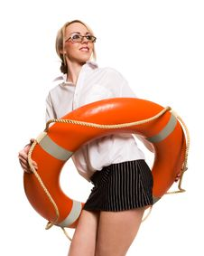 Free Businesswoman With Red Life Buoy Stock Photos - 9635513
