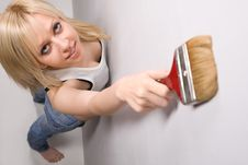 Free Girl With Paint Brush Stock Photography - 9635572