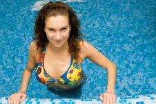 Beautiful Girl In Swimming Pool Royalty Free Stock Photos