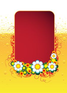 Free Red Floral Banner Royalty Free Stock Photos - 9640738