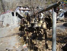 Free Prayer Bells In Muktinat Monastery Stock Image - 9641291