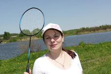 Free Girl Poses With Racket Stock Photography - 9641672
