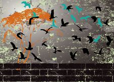 Free Grunge Abstract Bird Silhouette Raster Royalty Free Stock Images - 9642119