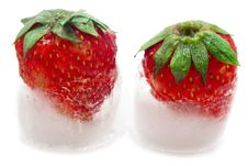 Free Strawberry And Ice Stock Photography - 9642242