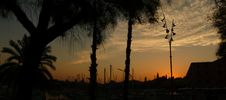 Free Barcelona Sunset Landscape Silhouette Stock Photography - 9642312