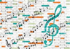 Free Brick Wall And Musical Notes Royalty Free Stock Photos - 9642318