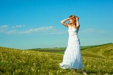 Girl Outdoor In Summertime Stock Image