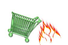 Free Cart Go Green Hot Sale Shop Stock Photo - 9642630