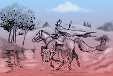 Free Odin Rides His Horse Sleipnir Stock Images - 9642754