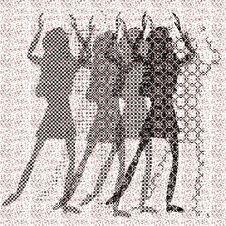 Free Halftone Raster Dancing Girls Stock Photography - 9643252