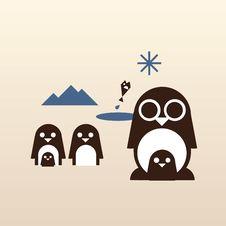Happy Penguin Family Royalty Free Stock Photo