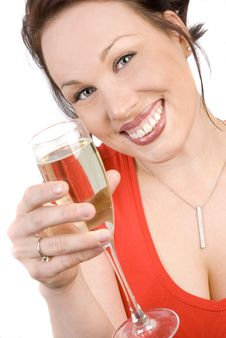 Free Happy Brunette With A Glass Of Champagne Stock Photos - 9644523