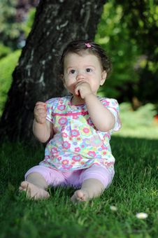 Free Baby Girl In Park Stock Images - 9646284