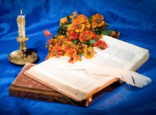 Books, Candle, Flowers And Feather Royalty Free Stock Photo