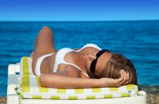 Beautiful Woman In Bikini Lying Back Stock Photos