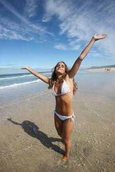 Free Beautiful Girl In The Beach Stock Image - 9648861