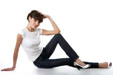 Free Beautiful Young Adult Girl Posing In A Studio Stock Image - 9649531