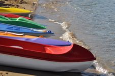 Free Colorful Kayaks Royalty Free Stock Photo - 9650085
