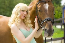Young Woman With Horse Royalty Free Stock Photos