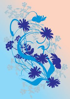 Free Blue Flower Silhouettes Illustration Royalty Free Stock Image - 9650626