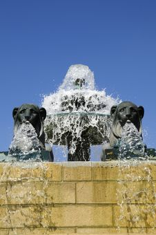 Free Spraying Fountain With Lion Statues Stock Photos - 9650793
