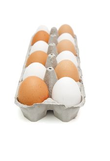 Free White And Brown Eggs In Paper Box Isolated Stock Photo - 9651230