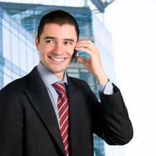 Businessman On Mobile Royalty Free Stock Image