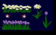 Free Flowers And Fireflies - Illustrator -material Stock Image - 9652831