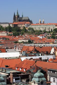 Prague Castle And Old Town Skyline Stock Photo