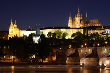 Prague Castle & Charles Bridge In Prague Stock Image