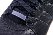 Shoe With Tag Close Up Stock Photo