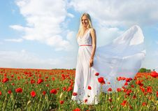 Free Young Beautiful Woman In White Dress Stock Image - 9657561