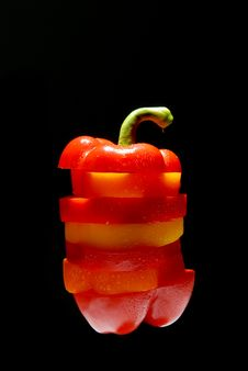 Free Pepper A Paprika From Slices With Water Drops Stock Photos - 9658063