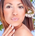 Free Pretty Woman With Flowers Royalty Free Stock Images - 9664239