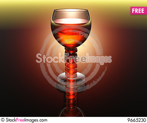 Free Wine Glass In 3D Stock Photo - 9665230