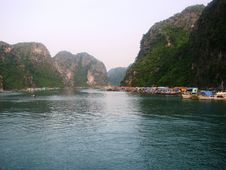 Halong Bay Fishing Village Stock Image