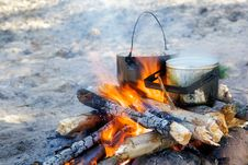 Free Cooking On A Fire. Stock Photo - 9660460