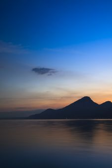 Sunset At Garda Lake Royalty Free Stock Image