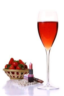 Pink Lipstick With Red Champagle Glass Royalty Free Stock Photo